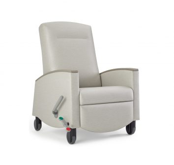 The Sahara Recliner has pneumatic control and independently operated footrest.
