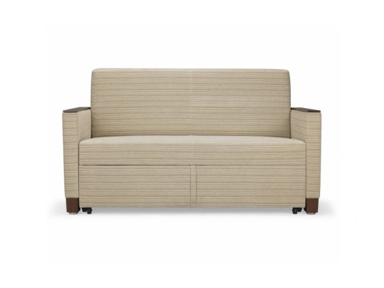 Sleep settee with anti-microbial surface for head and foot area.
