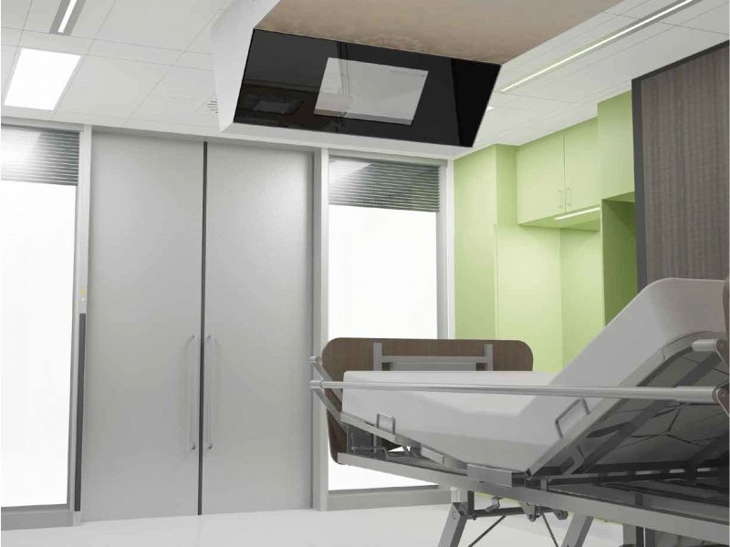 Modular construction, patient rooms.