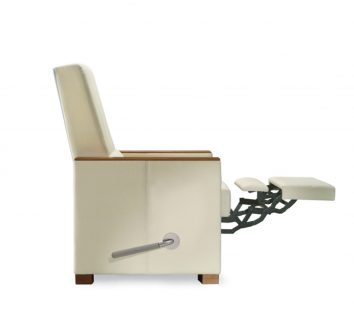 The Leonard II Recliner has a pneumatic control and independently operated footrest.