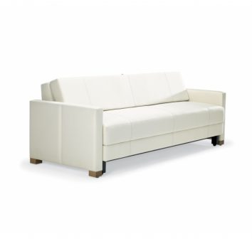 double sofa with sleep surface, integrated storage compartments