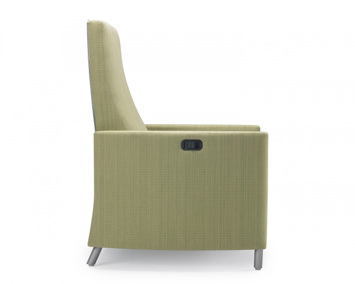 Nemschoff Pamona Recliner side view with healthcare fabric