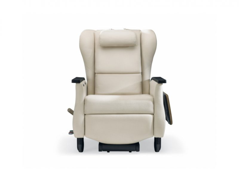 Nemschoff Serenity Recliner, front view Hospital, Aged Care, Dementia Friendly, Independent footrest, with fold down table