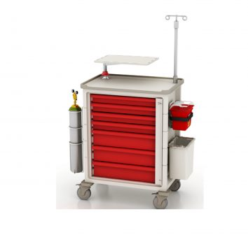Herman Miller Resuscitation Cart with defib tray and IV pole