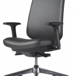 Verus Ergonomic Task Chair with Arm Rests and Black Vinyl Upholstery for hospital, medical centre, healthcare and aged care administration seating