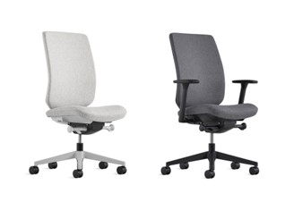 Verus Ergonomic Task Chair shown with and without arms in upholstered finish