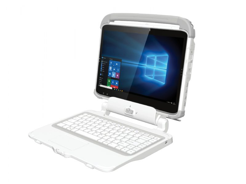 313MD Medical Rugged Tablet with keyboard side view