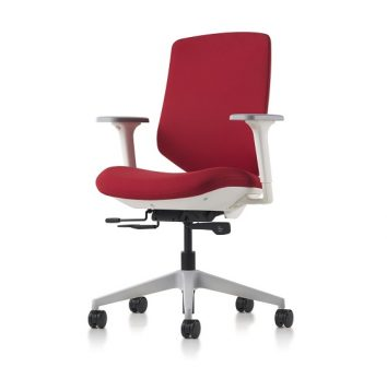 Express 2 Ergonomic Task Chair with red upholstered back and adjustable seat with arms