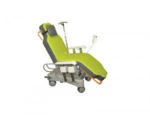 Sotec Ambu-One Electric Reclining Chair with green mattress and IV pole in a slightly reclined position as though in a day hospital