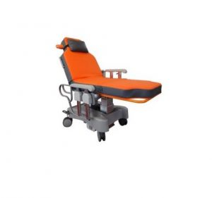 Sotec Ambu-One Electric Recliner in Strectcher Position with Orange Mattress