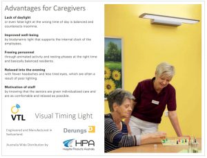 Infographic for HPA Derungs VTL Circadian Lighting describing the benefits for residents and showing a happy elderly lady with a smiling nurse.