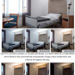 Collage of images showing the HPA Derungs VTL Visual Timing Light Circadian Lighting system with a Derungs Zera Bed Light