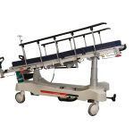 HPA480A Electric PAtient Trolley with both side rails raised and tilted in Trendelenburg position