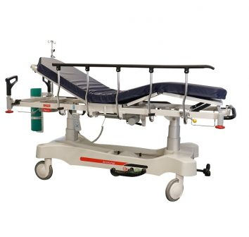 HPA480A Electric Patient Trolley with back rest and knee gatch reclined for patient recovery position