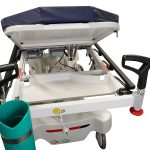 Close up image of HPA480A Electric Patient Trolley showing the utility tray located under the patient head section