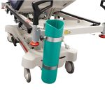 Close up image of the stainless steel and PP oxygen bottle holder for the HPA480A Electric Patient Trolley