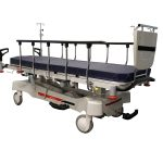 HPA480A Electric Patient Trolley with side rails up and patient monitor tray