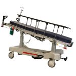 HPA480A Electric Patient Trolley in the Reverse Trendelenburg position with both side rails raised