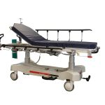 HPA480A Electric Patient Trolley with left side rail raised and the back rest section raised to have the patient seated up