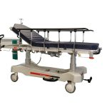 HPA480A Electric Patient Trolley with both side rails raised and the back rest section raised to have the patient seated up