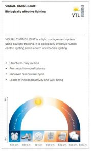 a graphic showing the different activities during a 24 hour cycle that are supported by Circadian Lighting such as Derungs Visual Timing Light