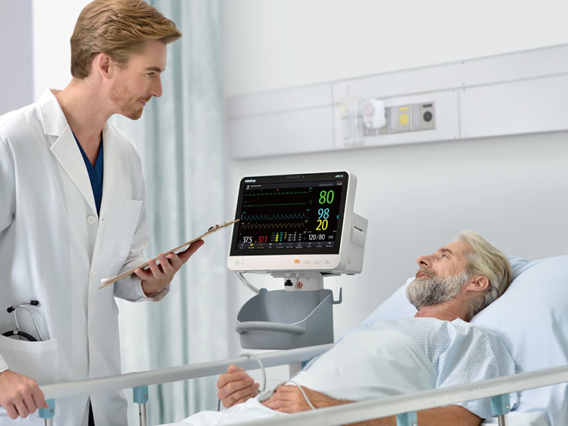 ePM 12 compact patient monitor on rollstand