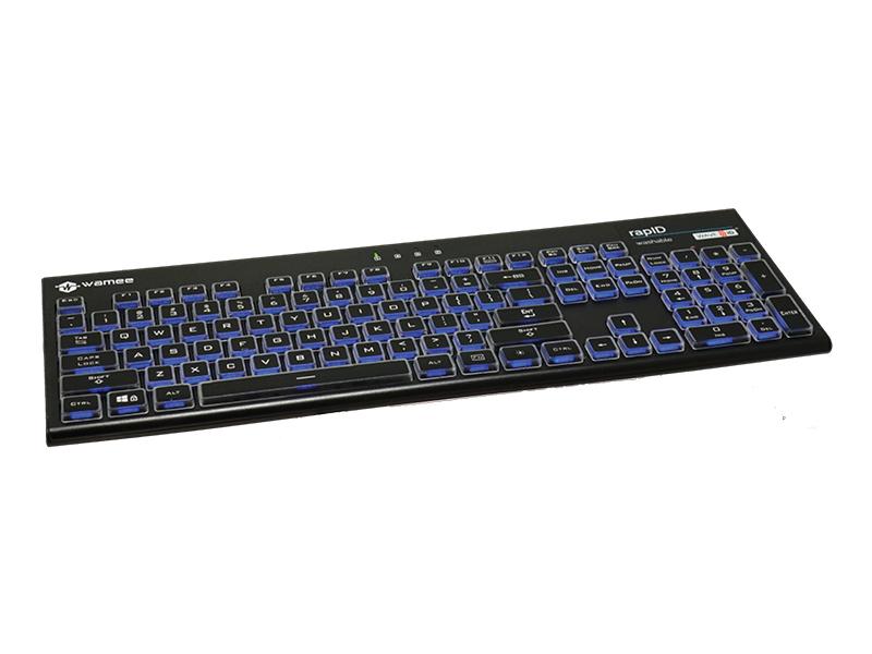 rapID RFID washable keyboard blue light